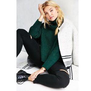 Silence + Noise Dark Green Crop Knitted Sweater